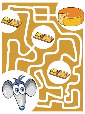 Juego de laberinto para niños: Ayuda a encontrar el ratón el queso sin ser atrapado en las trampas! Vectores