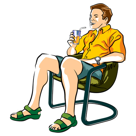 lawn chair: Man sitting in a lawn chair drinking an orange soda with ice.