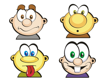 l boy: Selection of expressive man faces in icon style