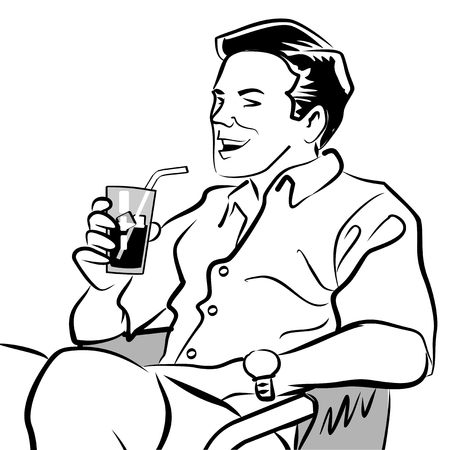 Black and white illustration of a man sitting with a drink. Vector