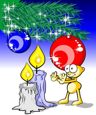 warming up: Christmas card with a man warming up his hands with a candle  Conceptual illustration