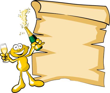 eventos especiales: Postal para escribir su mensaje en d�as festivos o eventos especiales con un hombre brindando con una copa de champ�n. Pergamino en blanco para escribir su texto.