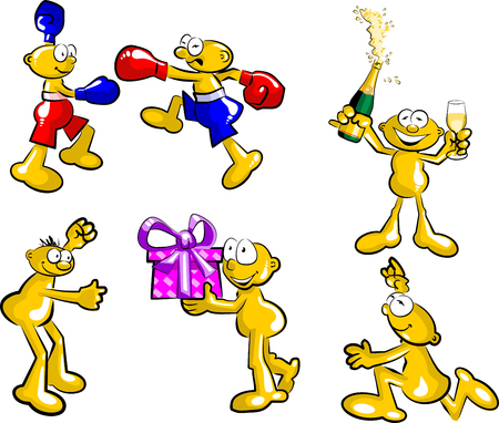 Set with six conceptual illustrations with funny little men in various activities and expressions. Fighting, running, partying, etc. Vector