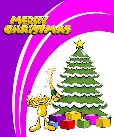 Funny Christmas postcard with a little man making a toast and drinking champagne in front of the Christmas tree. Vector