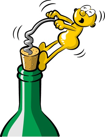 uncorked: Funny man uncorking a bottle of wine with corkscrew