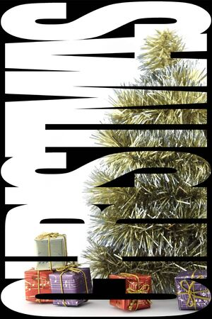 superimposed: Poster with a tree decorated, gifts, baubles and Word CHRISTMAS, superimposed on the image