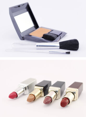 pomatum: Six lipsticks and a make up set isolated. Conceptual image about the aesthetics and beauty of women. Stock Photo