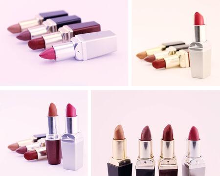 pomatum: Lipsticks isolated on white background. Set of four images.
