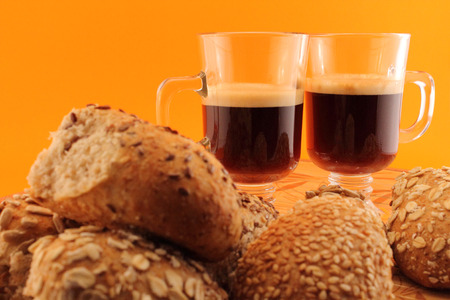 carbohydrates: Conceptual image. Baked and hot coffee for a healthy snack with carbohydrates
