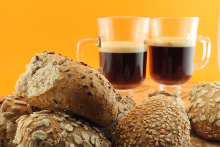 carbohydrates: Baked and hot coffee for a healthy snack with carbohydrates.