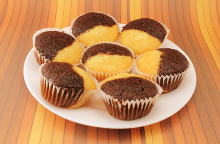 Delicious chocolate and vanilla muffins on a white plate