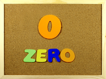 Corkboard with the word and number Zero written with colorful letters photo