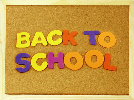 Corkboard with the word Back To School, written with colorful letters photo