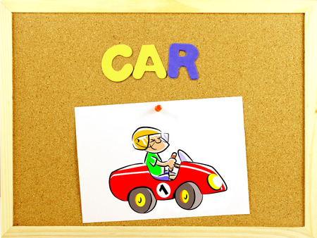 Written word CAR in a corkboard with colorful letters  Illustration paper attached with a pin