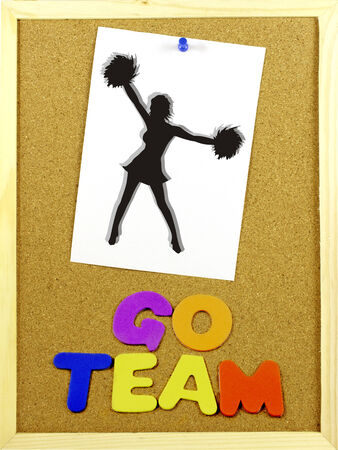 Written phrase GO TEAM in a corkboard with colorful letters. Illustration paper attached with a pin. illustration
