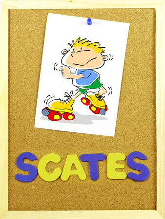 Written word SCATES in a corkboard with colorful letters  Illustration paper attached with a pin