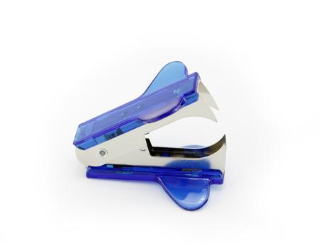 remover: Blue Staple Remover isolaten on white background Stock Photo