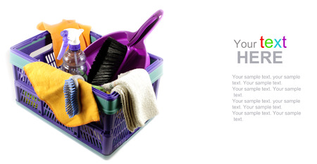 scour: Blue crate with cleaning supplies isolated on white background. With copy space for your text. Stock Photo