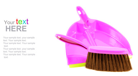 office cleanup: Plastic dustpan and brush isolated on white background. With copy space for your text.