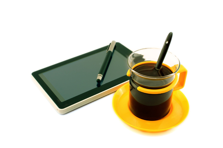 android tablet: Coffee, Digital tablet pc and pencil. Business concept.