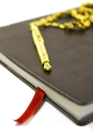Leather bound diary and golden pen photo