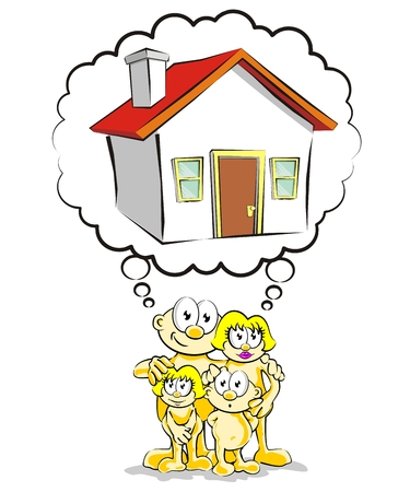 home ownership: The dream of home ownership. Family dreaming of buying your new home.