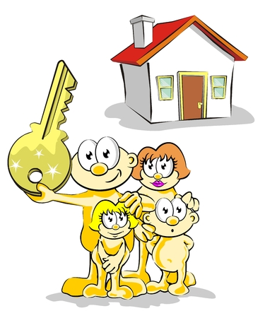 job opening: Family with house keys. Conceptual illustration of real estate.