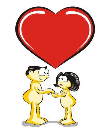 parejas de amor: Amantes de la mano con el s�mbolo de coraz�n grande Vectores