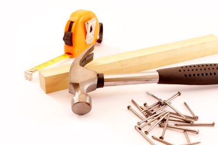 herramientas de carpintería aislado en el fondo blanco. Imagen de detalle. Foto de archivo