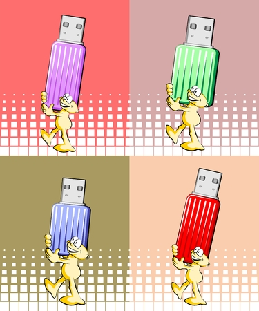 usb various: illustration set. Man with USB Pendrive, funny . Four background colors.