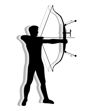 bowman: Silhouette of man practicing with a bow of competition. Athlete archery , target shooting .