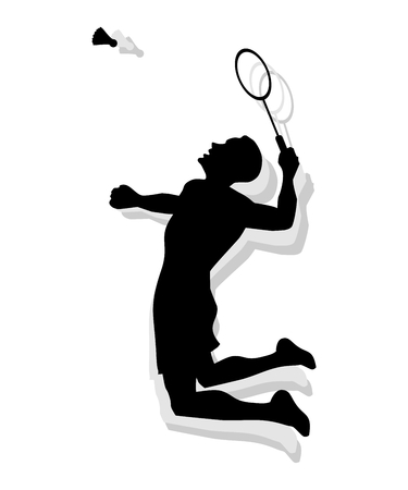 male athlete: Silhouette of a male athlete playing badminton with racket and shuttlecock.