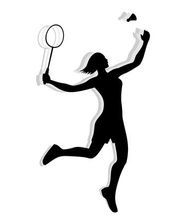 female athlete: Silhouette of a female athlete playing badminton with racket and shuttlecock.
