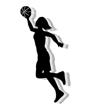 Silhouette of a woman playing basketball on white background.