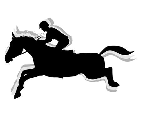 Paard Springen, Paardensport silhouet