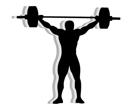 sporty: Athlete silhouette weightlifting - isolated on white background
