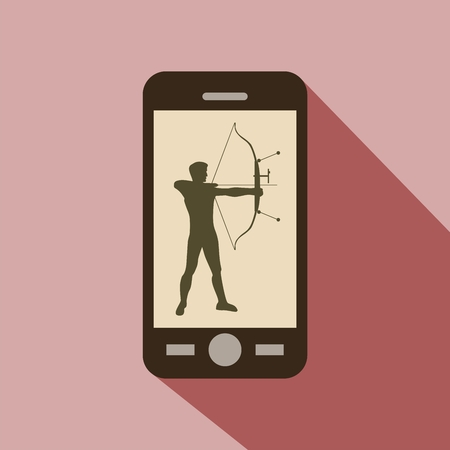 target shooting: Watch sports on cellphone. Silhouette of man practicing with a bow of competition. Athlete archery, target shooting.