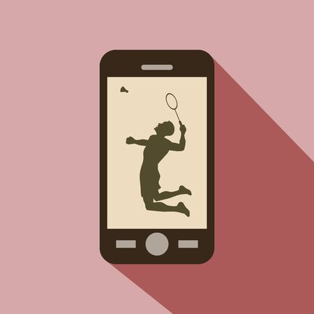 male athlete: Watch sports on cellphone. Silhouette of a male athlete playing badminton with racket and shuttlecock.