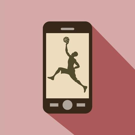 Sport kijken op de mobiele telefoon. Silhouet van een man te spelen basketbal. Stock Illustratie
