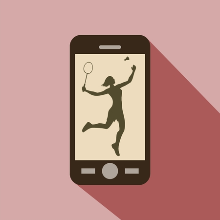 female athlete: Watch sports on cellphone. Silhouette of a female athlete playing badminton with racket and shuttlecock.