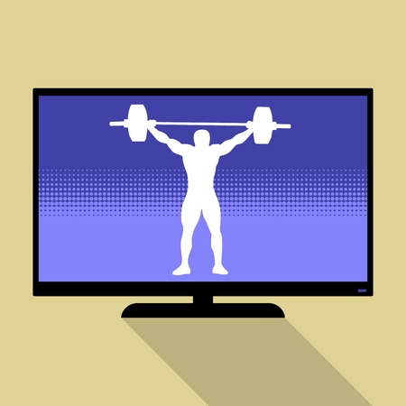 heaviness: Watch sports on flat tv. Athlete silhouette weightlifting.