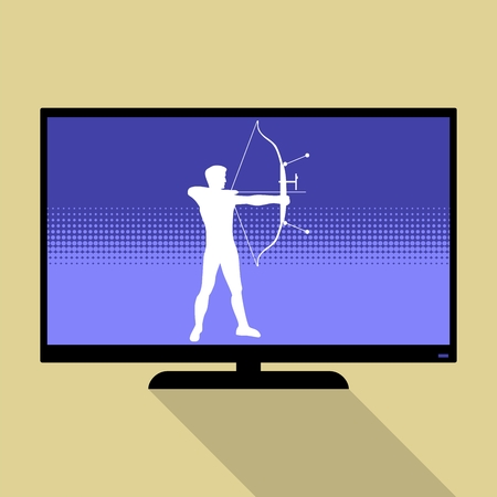 target shooting: Watch sports on flat tv. Silhouette of man practicing with a bow of competition. Athlete archery, target shooting.