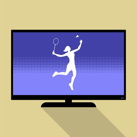 female athlete: Watch sports on flat tv. Silhouette of a female athlete playing badminton with racket and shuttlecock.