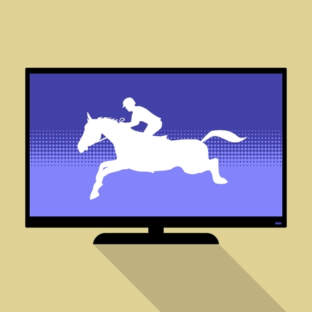 Watch sports on flat tv. Horse Jumping, Equestrian Sports silhouette.