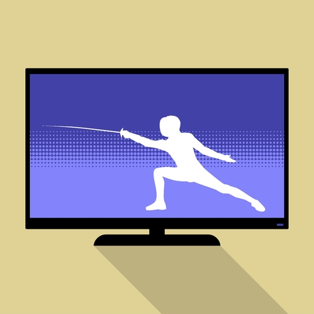 swordsmanship: Watch sports on flat tv. Silhouette with the sword practicing in fencing. Illustration