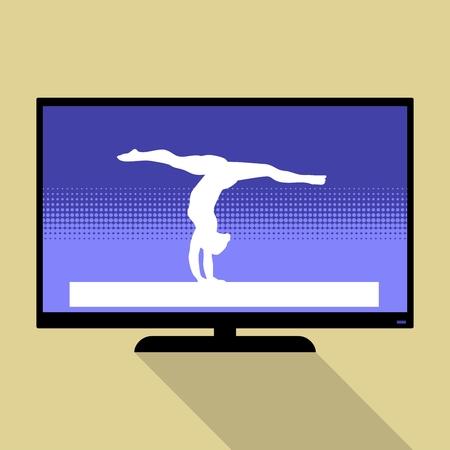 handstand: Watch sports on flat tv. Woman handstand. Artistic gymnastics Woman silhouette. Illustration