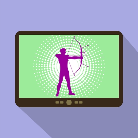 target shooting: Watch sports on tablet. Silhouette of man practicing with a bow of competition. Athlete archery, target shooting.
