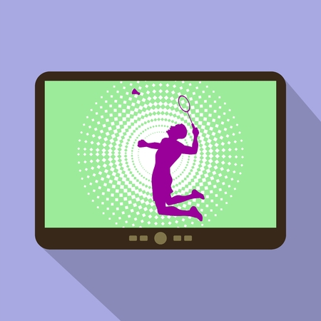 male athlete: Watch sports on tablet. Silhouette of a male athlete playing badminton with racket and shuttlecock.