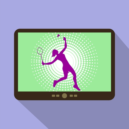 female athlete: Watch sports on tablet. Silhouette of a female athlete playing badminton with racket and shuttlecock. Illustration