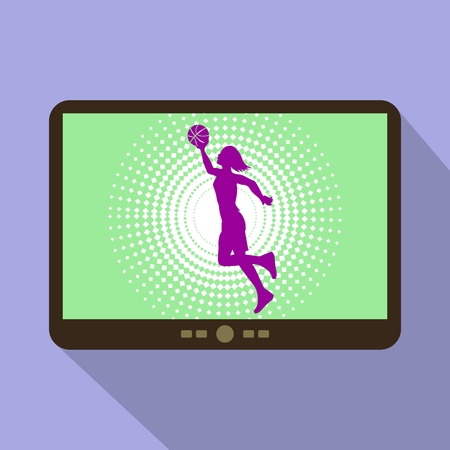 woman tablet: Watch sports on tablet. Silhouette of a woman playing basketball.